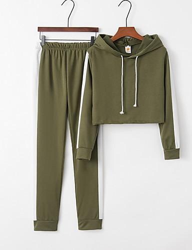 billige Todelt dress til damer-Dame Sporty Sett Bukse Stripet Med hette