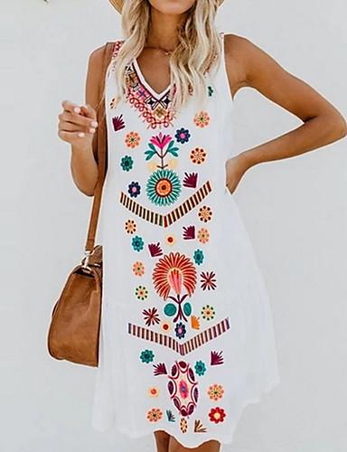 preiswerte Sommer-Partykleider-Damen Übergrössen Blumig Stickerei Strand Design Schlank A-Linie Tunika Kleid Knielang V-Ausschnitt