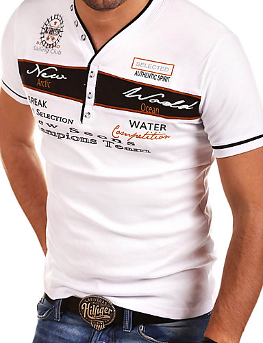 cheap Henley Shirts-Men's T-shirt Graphic Letter Print Tops V Neck White Black Blue