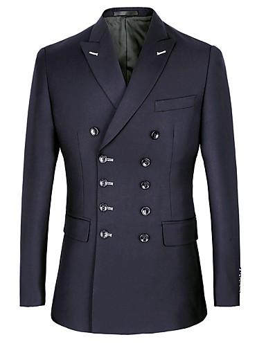 billige Brudgom og brudesvenner-Marineblå / Svart Ensfarget Standard polyster / Bomull Dress - Spiss Dobbeltkneppet med seks knapper / drakter