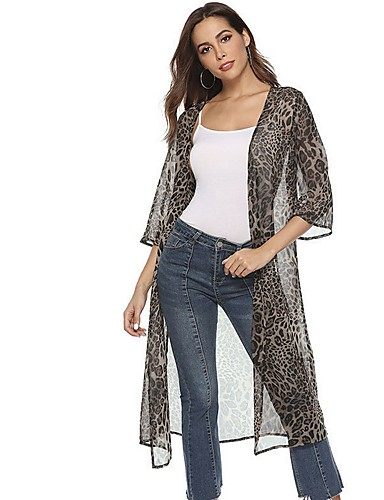 bc1199d2d Women's Daily Long Cloak / Capes, Leopard Cowl 3/4 Length Sleeve Polyester  Brown / Gray M / L / XL 7183475 2019 – $24.74