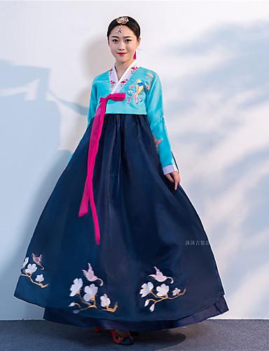 povoljno Maske i kostimi-Djevojka Hanbok Odrasli Žene Azijski Tradicionalni korejski Jeogori Hanbok Magoja Za Seksi blagdanski kostimi Zaručnička zabava Djevojačka večer Brokat Dugi Duljina Suknja