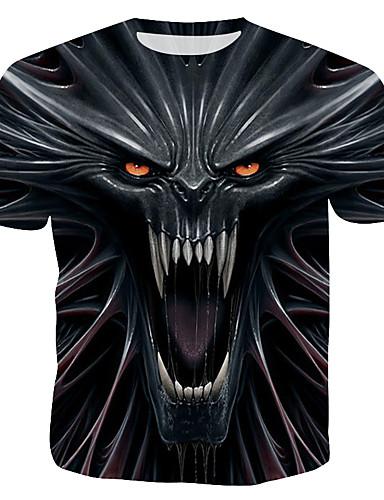 voordelige Herenbovenkleding-Heren Print T-shirt 3D / Cartoon / Doodskoppen Zwart