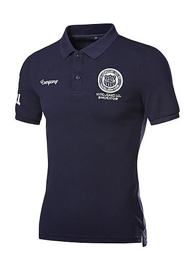 levne Pánská polo trika-Pánské - Jednobarevné Polo Bavlna Košilový límec Štíhlý Námořnická modř