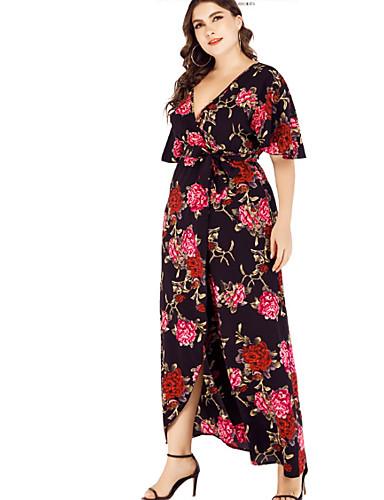 levne Šaty velkých velikostí-dámské maxi volné swing šaty v krku černá tmavě modrá xl xxl xxxl xxxxl