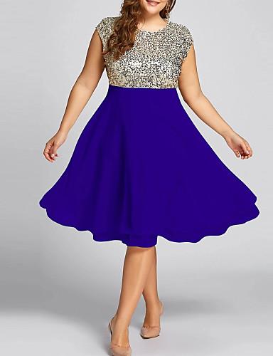 levne Šaty velkých velikostí-Dámské Základní Pouzdro Šaty - Jednobarevné, Flitry Délka ke kolenům