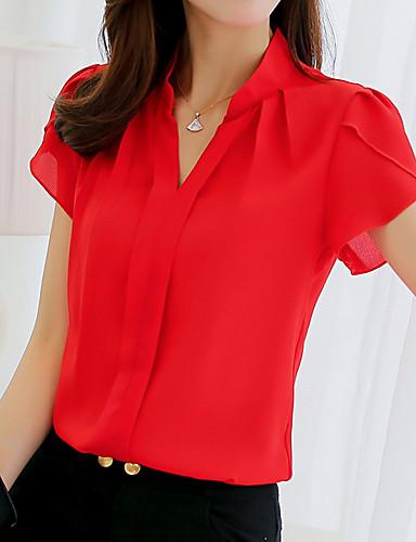 billige Bluser-Skjorte Dame - Ensfarget Hvit