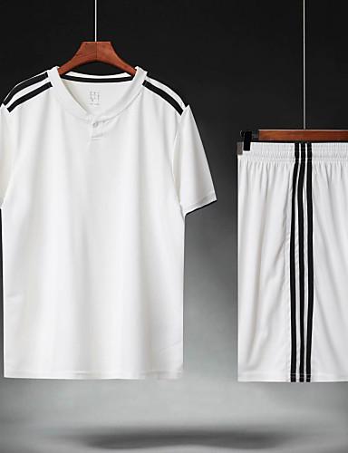 preiswerte Fußball-Hemden und Shorts-Herrn Fußball Fußballtrikot und Shorts Sportkleidung Atmungsaktiv Schweißableitend Teamsport Aktives Training American Football Streifen Polyester Erwachsene Weiß
