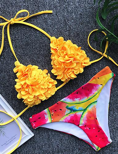 billige Dametopper-Dame Grunnleggende Blå Gul Trekant Cheeky Bikinikjole Badetøy - Blomstret Frukt Åpen rygg S M L Blå