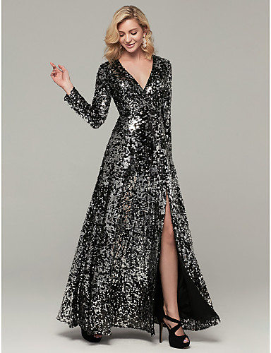 cheap Prom Dresses-A-Line Sparkle Black Party Wear Formal Evening Dress V Neck Long Sleeve Floor Length Sequined with Sequin Split 2020