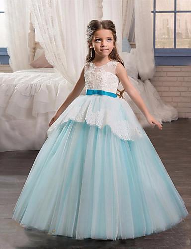 levne Krásné šaty-Princess Long Length Šaty pro květinovou družičku - Krajka / Tyl Bez rukávů Klenot s Aplikace / Pásek podle LAN TING Express