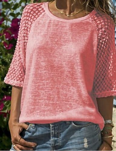 billige T-skjorter til damer-Store størrelser T-skjorte Dame - Ensfarget, Blonde / Lapper Hvit