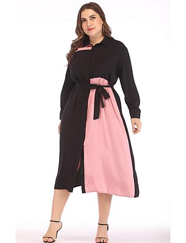 levne Šaty velkých velikostí-Dámské Elegantní A Line Šaty - Barevné bloky Midi