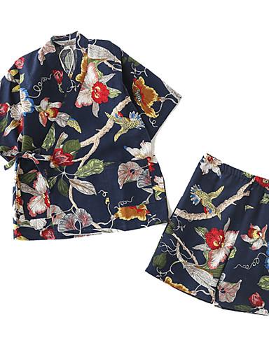 povoljno Maske i kostimi-Odrasli Muškarci Žene Kimonima Kimono Jinbei Bade-mantil Za Halloween Dnevni Nosite Festival Posteljina i pamuk Blend Top Hlače