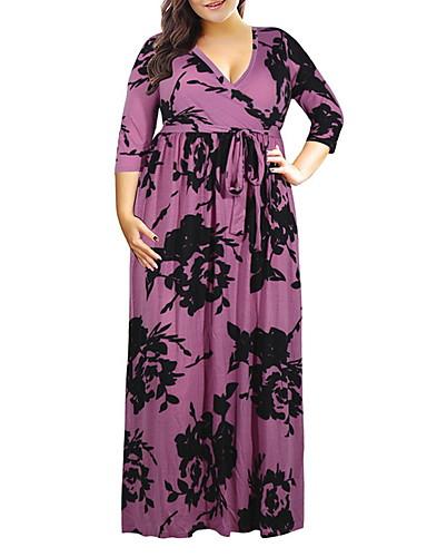 levne Šaty velkých velikostí-dámské maxi štíhlé šaty šaty fialová bílá červená xxxl xxxxl xxxxxl xxxxxxl