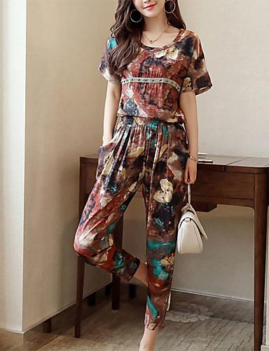 billige Todelt dress til damer-Dame Aktiv / Sofistikert Store størrelser Draperte ermer Sett Bukse - Flettet / Trykt mønster, Geometrisk / Sommer