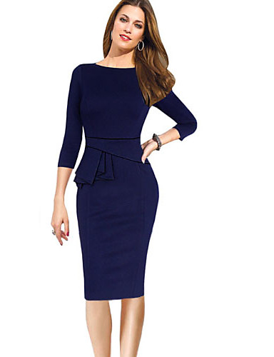 levne Pracovní šaty-Dámské Základní Štíhlý Pouzdro Šaty - Jednobarevné, Patchwork Nad kolena