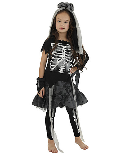 cheap Kids Halloween Costumes-Skeleton / Skull Cosplay Costume Kid's Boys' Dresses Vacation Dress Halloween Halloween Carnival Masquerade Festival / Holiday Terylene Polyster Black Easy Carnival Costumes Cool Skulls / Sleeves