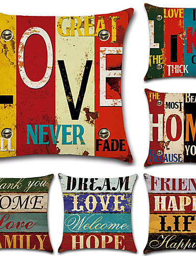 cheap Cushion Covers-Set of 6 Cotton / Linen Pillow Case, Classic Letter Printing Traditional / Vintage European Style Throw Pillow