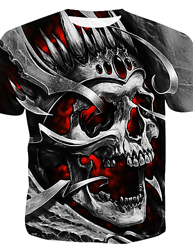 cheap 11.11 - Men's 3D Print T-Shirts Best Sale-Men's Cotton T-shirt - Color Block / 3D / Skull Print Round Neck Gray