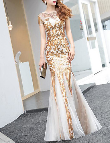 32863468b6d Mermaid   Trumpet Jewel Neck Floor Length Tulle   Sequined Dress with Sequin    Crystals   Embroidery by LAN TING Express 7195781 2019 –  109.99