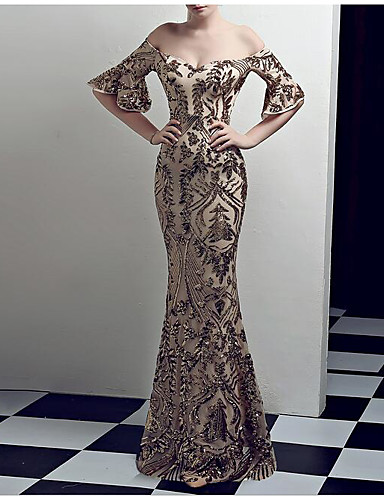 4da10615ed2 Mermaid   Trumpet Strapless Floor Length Sequined Vintage Inspired Formal  Evening Dress with Beading   Sequin   Crystals by LAN TING Express 7175315  2019 – ...