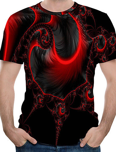 cheap Men's Tees & Tank Tops-Men's T-shirt Abstract Graphic Tops Round Neck Red