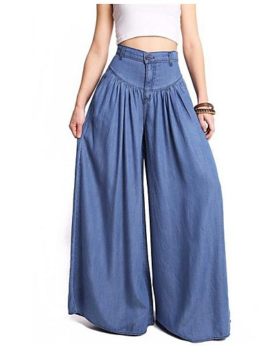 levne Dámské kalhoty a sukně-Dámské Základní Větší velikosti Volné Prodloužené Široké nohavice Kalhoty - Jednobarevné Vodní modrá S / M / L