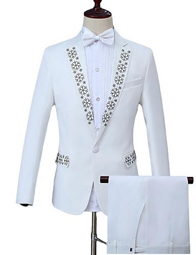 levne Pánské módní oblečení-Pánské Práce Business Standardní Obleky, Geometrický Peter Pan límec Dlouhý rukáv Polyester Bílá / Obchodní formální