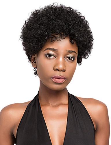 preiswerte Pflege & Haar-Echthaar Perücke Kurz Afro Kinky Kinky Curly Pixie-Schnitt Kurze Frisuren 2019 Schwarz Afro-amerikanische Perücke Für Damen dunkler Hautfarbe Brasilianisches Haar Unisex Schwarz