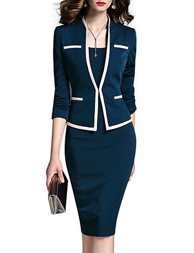 cheap Women's Two Piece Sets-Women's Work Suits Jacket - Solid Colored Dress V Neck / Spring