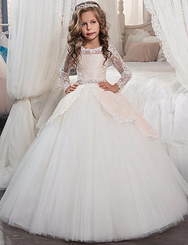 levne Krásné šaty-Princess Long Length Šaty pro květinovou družičku - Krajka / Tyl Dlouhý rukáv Klenot s Mašle / Křišťály / Krajka podle