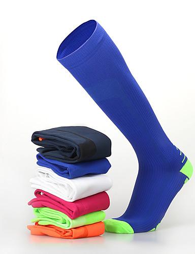 preiswerte Kompressionskleidung-Herrn Damen Sportsocken Radsocken Kompression Socken Lange Socken Atmungsaktiv Rutschfest Weich Schweißableitend Unterstützung Schwarz Orange + weiß Blau + Orange Lycra Winter Rennrad Geländerad