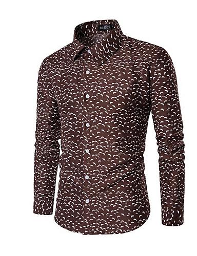 levne Pánské košile-Pánské - Puntíky Větší velikosti Košile, Tisk Hnědá