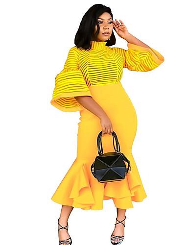 voordelige Grote maten jurken-maxi slanke bodycon jurk voor dames rood zwart geel s m l xl