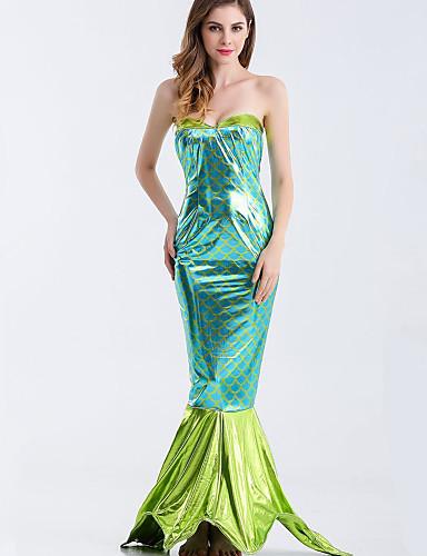 povoljno Maske i kostimi-Rep Sirene Aqua Queen Aqua Princess Cosplay Nošnje Bikini Kostim za party Žene Filmski Cosplay Plava Rep Halloween Karneval Maškare Terilen