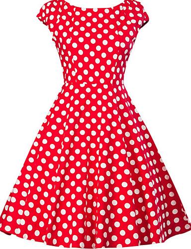 cheap Polka Dot Dresses-Women's Plus Size Going out 1950s A Line Dress - Polka Dot Print V Neck Black Red Yellow XXL XXXXL XXXXXL