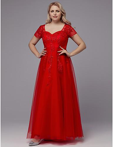 voordelige Grote maten jurken-A-lijn Queen Anne Tot de grond Tule Formele avonden Jurk met Kralen / Appliqués door TS Couture®