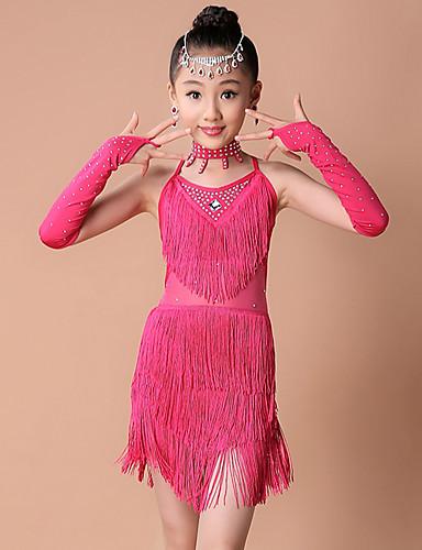 cheap Latin Dancewear-Latin Dance Kids' Dancewear Dress Tassel Tiered Crystals / Rhinestones Girls' Training Performance Sleeveless Nylon Elastic