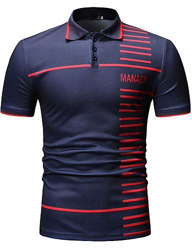 お買い得  メンズポロシャツ-男性用 ストライプ グラフィック プリント Polo ビジネス ワーク ブラック / ネイビーブルー / 半袖