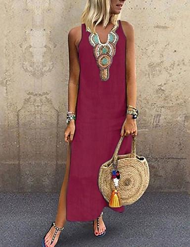 preiswerte Alles für den Sommerurlaub-Damen Boho Tunika Kleid Solide Maxi V-Ausschnitt