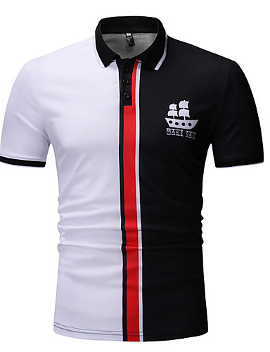 abordables Vêtements Homme-Homme Polo Bloc de Couleur Hauts Coton Col de Chemise Blanche Rouge