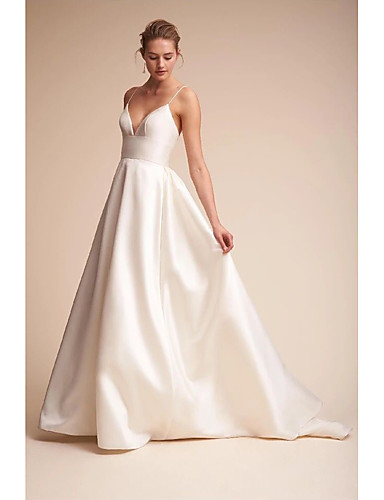 cheap Wedding Dresses-A-Line Wedding Dresses V Neck Court Train Satin Spaghetti Strap Little White Dress Open Back Sexy with Draping Side-Draped 2020 / Beautiful Back
