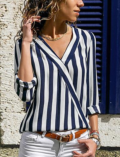 billige Dametopper-Tynn V-hals Skjorte Dame - Stripet, Stripe / Trykt mønster Blå / Vår / Sommer / Høst / Vinter