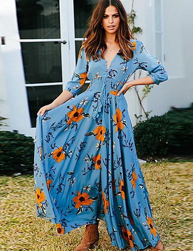 levne Maxi šaty-dámské maxi swing šaty hluboké v šifonu černé královské modré zelené s m l xl