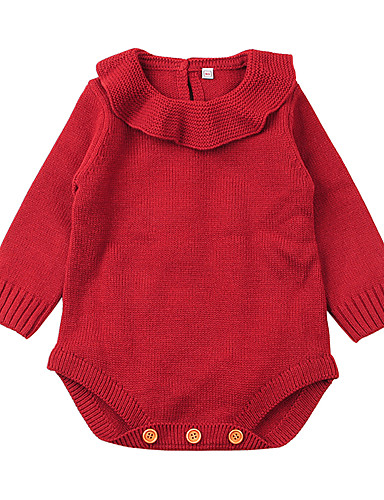 b6bcd253d Baby Girls' Basic Solid Colored Ruffle / Knitted / Basic Long Sleeve Romper  Beige / Toddler 7197439 2019 – $17.95