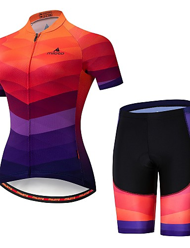 cheap Cycling Jersey & Shorts / Pants Sets-21Grams Women's Short Sleeve Cycling Jersey with Shorts Lycra Camouflage Bike Jersey Padded Shorts / Chamois Clothing Suit Breathable Moisture Wicking Reflective Strips Sports Multi Color Clothing