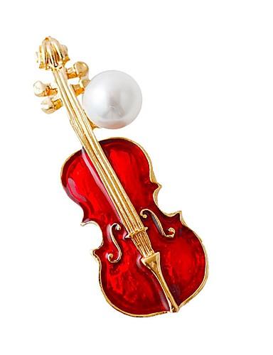 preiswerte Hochzeiten & Feste-Damen Broschen Musik Gitarre Modisch Sterling Silber Brosche Schmuck Rot Für Alltag Festival