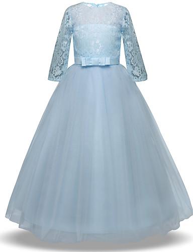 levne Krásné šaty-Princess Long Length Šaty pro květinovou družičku - Krajka / Tyl Poloviční rukáv Klenot s Mašle / Krajka / Pásek podle LAN TING Express