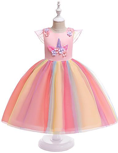 preiswerte Baby & niños-Kinder Mädchen Aktiv Süß Unicorn Patchwork Kurzarm Knielang Kleid Rosa